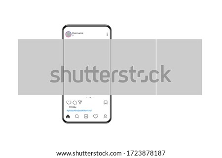 The mockup of the mobile application on the screen of a realistic smartphone. Phone with carousel interface post on social network. Vector illustration.