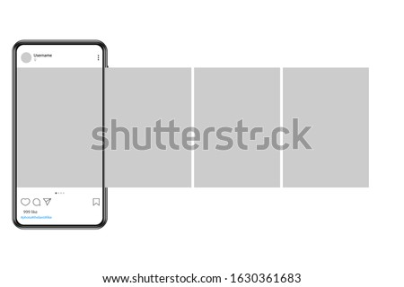 The mockup of the mobile application on the screen of a realistic smartphone. Smartphone with carousel interface post on social network.