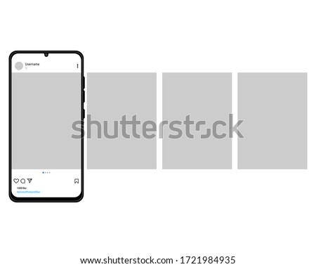 The mockup of the mobile application on the screen of a realistic smartphone. Smartphone with carousel interface post on social network, isolated on white background. Vector EPS 10
