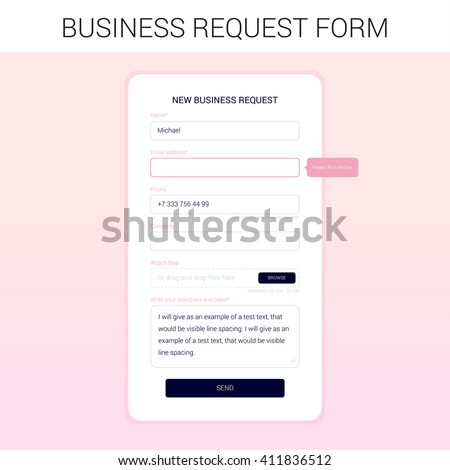 The modal window for the development of the site. New business request form. Minimal clean flat  style. UI / UX design.     #411836512