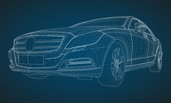 The model sports a premium sedan. Vector illustration in the form of a white polygonal triangular grid on a blue background.