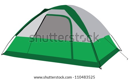 The modern family tent for camping. Vector illustration.
