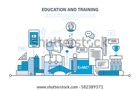 The modern system of education and training, distance learning, technology, knowledge, teaching and skills. Illustration thin line design of vector doodles, infographics elements.