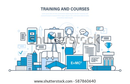 The modern system of training and courses, distance learning, technology, webinar, knowledge, teaching and skills. Illustration thin line design of vector doodles, infographics elements.