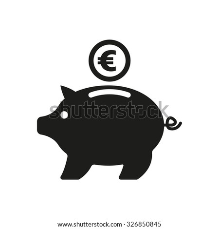 the moneybox and euro icon