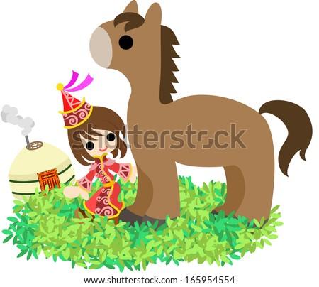 the mongolian girl who walks