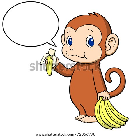 Corvette Stingray Logo Vector on The Monkey Happily Eating A Banana  Speech Balloon And Monkey Are