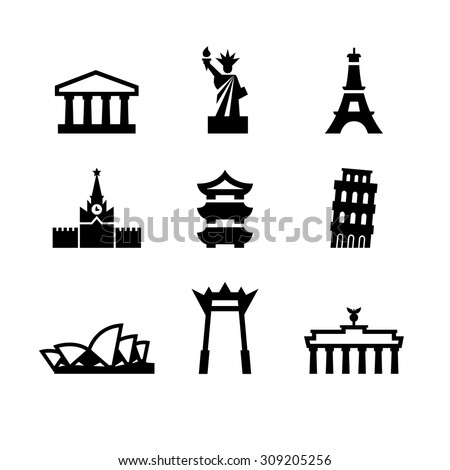 The most famous world landmarks. The Statue of Liberty, Eiffel Tower, Pantheon, Leaning Tower, the Kremlin