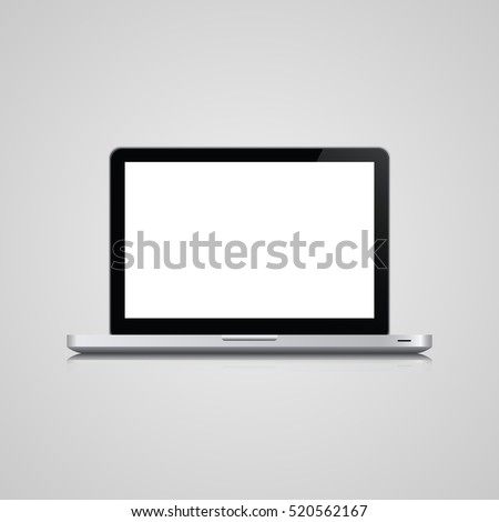 the most realistic model of laptop. Realistic Open Laptop with white Screen. Realistic Notebook Vector