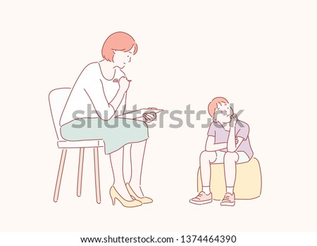 The mother is educating the child. Hand drawn style vector design illustrations. ストックフォト ©