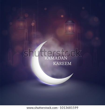 The Muslim feast of the holy month of Ramadan Kareem. vector illustration .greeting with mosque on night cloudy background.