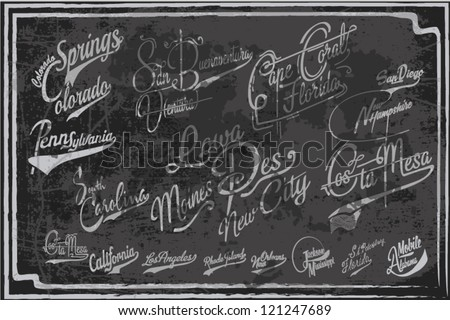 THE NAMES OF CITIES IN HANDWRITING