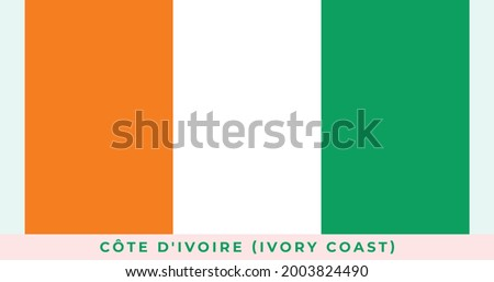 The national flag of Côte D'ivoire (Ivory Coast). Vector illustration of Côte D'ivoire (Ivory Coast), Vector of Côte D'ivoire (Ivory Coast) flag. Photo stock ©