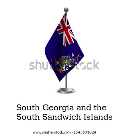 The national flag of South Georgia and the South Sandwich Islands. High resolution images of the national flags of South Georgia and the South Sandwich Islands fluttering on poles.