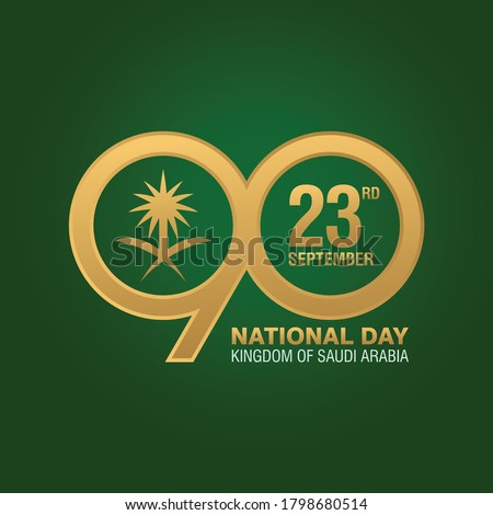 The national holiday of the Kingdom of Saudi Arabia. Celebration on September 23. 90 Years Anniversary Logo. Vector Illustration.