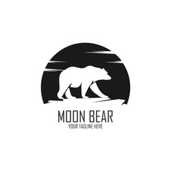 The negative space that forms bear with the moon background. Silhouette, Big Bear, side view, walking on moon background, symbol, graphic vector.