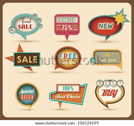 The new retro speech bubbles/signs collection. Vector Illustration.
