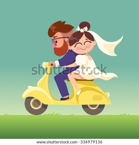 the newlyweds go on a moped