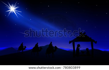 The night landscape of Jesus Mary Joseph and the three wise men