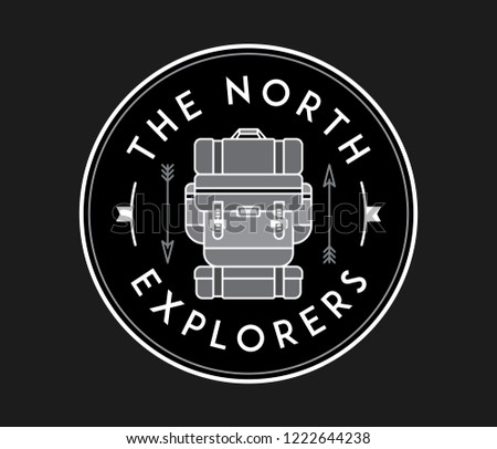 The north explorers white on black is a vector illustration about discovering and exploration