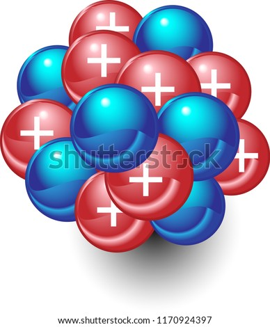 The nucleus of an atom showing protons and neutrons. This science diagram shows positive charges in atomic nuclei. Foto stock ©