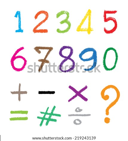 The number drawn by a crayon. Vector illustration.