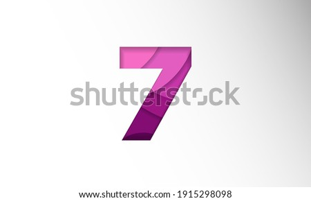 The number for the date in one-month Background Template. Holiday Vector Illustration of Paper Cut Number 7. The date in one-month Paper Cut Background Festive Poster or Banner Design