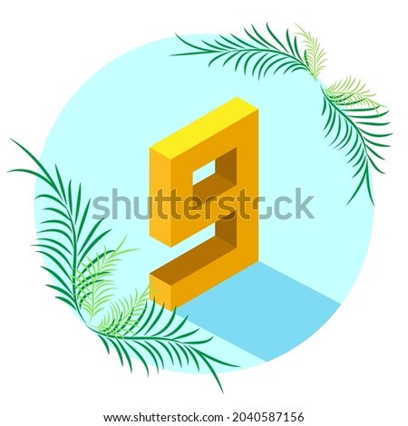 the number 9 is isometric style