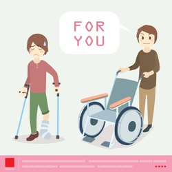 The nurse pushed the wheelchair for the man was broken leg and splinted with a support stick cartoon vector.