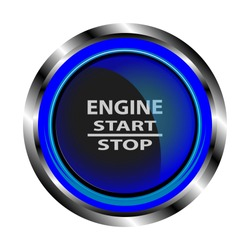 The object in the form of a black button to start the engine in a metal case with neon blue lights, with the inscription start, stop, engine. Vector illustration.