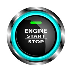 The object in the form of a black button to start the engine in a metal case with neon lights, with a green indicator, with the inscription start, stop, engine. Vector illustration.