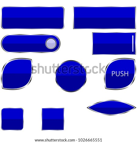 The objects are represented in the form of a set of buttons for a blue site in a metal frame, the buttons are a ball, an inscription to push and a white rectangle.