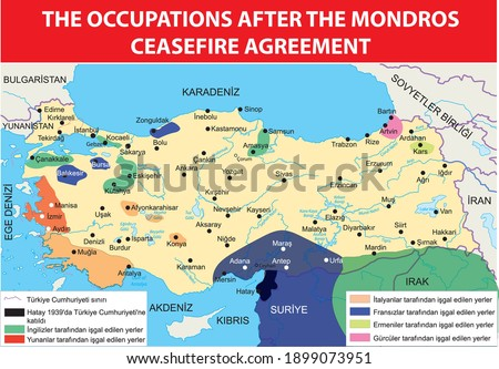 the occupations after the mondros ceasefire agreement turkish history map Сток-фото ©