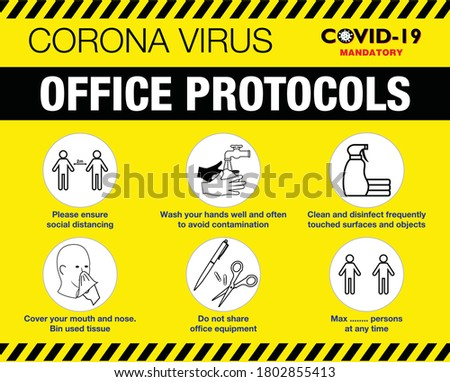 The office protocol poster or public health practices for covid-19 or health and safety protocols or new normal lifestyle concept. eps 10 vector, easy to modify Foto stock ©