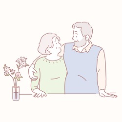 The old couple are looking at each other warmly. hand drawn style vector doodle design illustrations.
