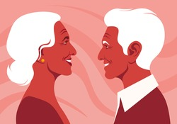 The old lovers in the profile. Happy elderly couple. Love and dating. Family relationship. Vector flat illustration