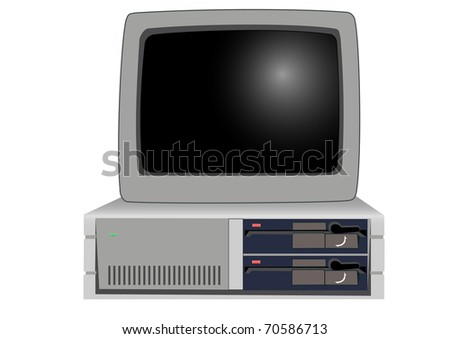 The old personal computer on a white background
