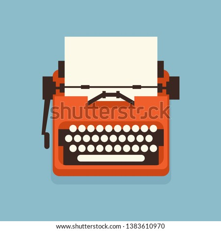 The old styled vintage typewriter. Flat design vector illustration. It is possible to add any text on to the paper. Illustration for international authors day.  ストックフォト ©