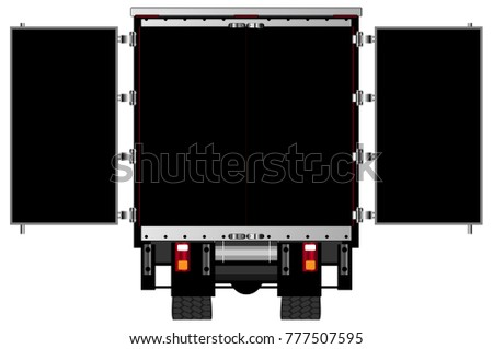The open rear doors of a lorry
