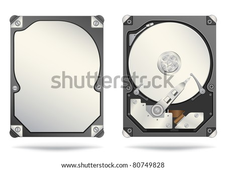 The opened and closed hard drive isolated on the white background - stock vector