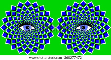 The optical illusion of movement executed in the form of big blue pulsing squares and eyes.