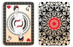 the original illustration of the playing card in the old style, with the image of Katrina Calavera, a symbol of the traditional Mexican holiday Day of the dead and the Day of angels