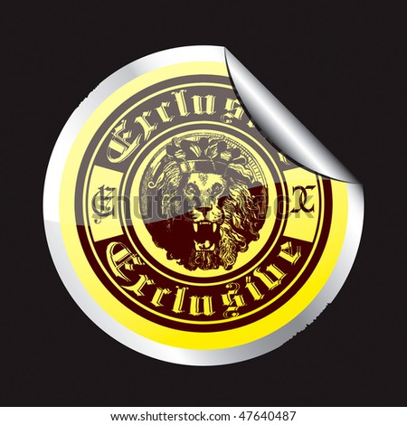 The original sticker with the image of the crown and the word exclusive lion.