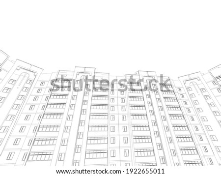 The outline of a multi-storey residential building. Bottom view. 3D. Vector illustration Сток-фото ©