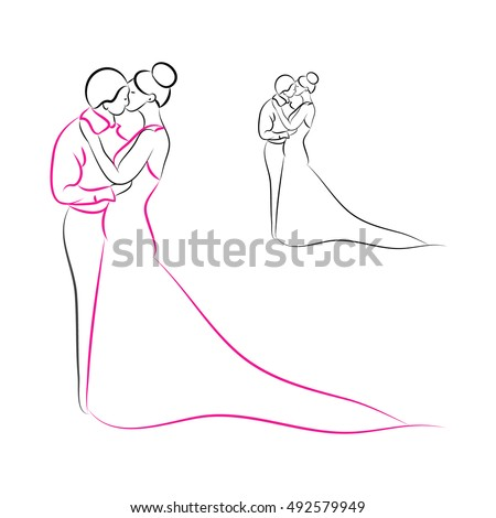 the outline of the bride and