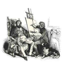 The painter -Vintage engraved illustration -