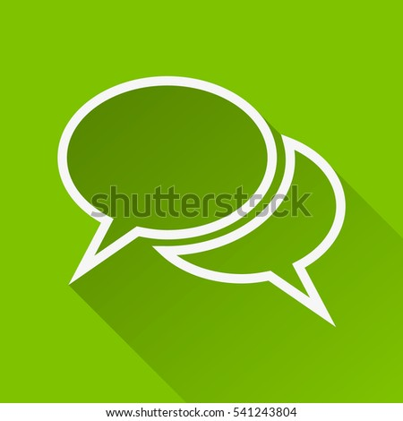 The pair of speech bubbles. Social icons. Modern flat icon with long shadow effect