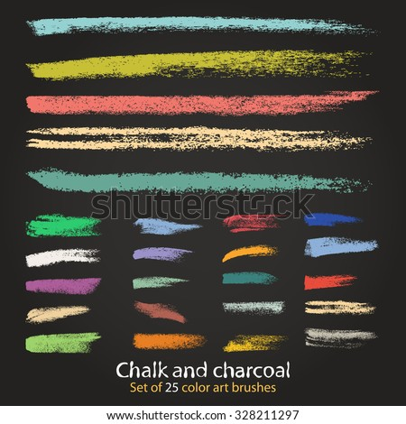 The palette of color brushes chalk and charcoal. A set of isolated vector of hands. Designed for registration of various design projects: posters, banners, stickers, templates, stickers.