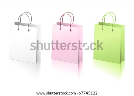 The paper bags of three colors