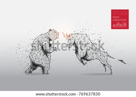 The particles, geometric art, line and dot of bear and bull abstract vector illustration.  graphic design concept of stock market - line stroke weight editable